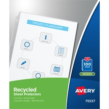 AVE 75537 Avery Recycled Economy Weight Clear and Semi Clear Sheet Protector AVE75537