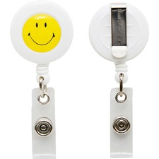 BAU 68808 Baumgartens Sicurix Smiley Face Clip ID Card Reel BAU68808