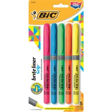 BIC GBLP51ASST Bic Brite Liner Grip Highlighters BICGBLP51ASST