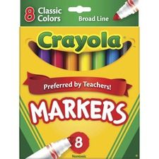 Crayola Classic Colors Markers - Ink Color: Red, Orange, Yellow, Green, Blue, Violet, Brown, Black - 8 / Set