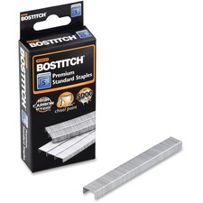 "Bostitch 1/4"" Standard Premium Staples - 210 Per Strip - Standard - 1/4"" Leg - 1/2"" Crown - Holds 20 Sheet(s) - for Paper - Chisel Point, Galvanized - Silver - High Carbon Steel - 5000 / Box"