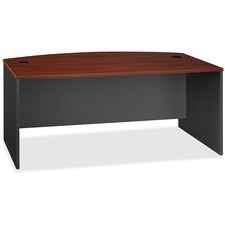 "Bush Business Furniture Series C 72W Bow Front Desk Shell - 71"" x 36.1"" x 29.8"" - File Drawer(s) - Material: Thermally Fused Laminate Over Engineered Wood, Wood - Finish: Graphite, Hansen Cherry, Thermofused Laminate (TFL)"