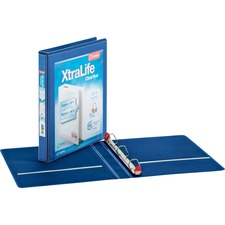 "Cardinal Xtralife ClearVue Locking Slant-D Binders - 1"" Binder Capacity - Letter - 8 1/2"" x 11"" Sheet Size - 270 Sheet Capacity - 1"" Spine Width - 3 x D-Ring Fastener(s) - 2 Inside Front & Back Pocket(s) - Polyolefin - Blue - 14.40 oz - Non-stick, Locking Ring, PVC-free, Clear Overlay, Cold Resistant, Crack Resistant - 1 Each"