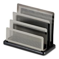 "Rolodex Distinctions Wood & Metal Mini Sorter - 5.75\"" x 7.5\"" x 3.5\"" - 3 Compartment(s) - Wood, Steel - Black"