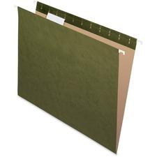 "Pendaflex Reinforced Hanging Folder - Letter - 8.50"" Width x 11"" Length Sheet Size - 1/5 Tab Cut - Standard Green - 25 / Box"