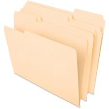"Pendaflex Cutless File Folders - Letter - 8.50"" Width x 11"" Length Sheet Size - 1/3 Tab Cut - Assorted Position Tab Location - 11 pt. - Paper Stock - Manila - 100 / Box"