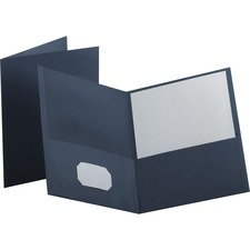 "Oxford Twin Pocket Folder - Letter - 8.50"" Width x 11"" Length Sheet Size - 100 Sheet Capacity - 2 Pockets - Leatherette Paper - Dark Blue - 25 / Box"
