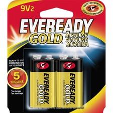 EVE A522BP2 Energizer Eveready Gold Alkaline 9-Volt Batteries EVEA522BP2