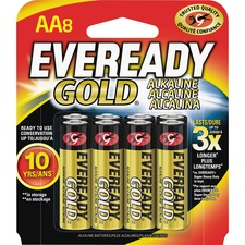 EVE A91BP8 Energizer Eveready Gold Alkaline AA Batteries EVEA91BP8