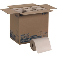 "Georgia-Pacific Brown Hardwound Roll Paper Towel - 1 Ply - 7.87"" x 350 ft - Natural - Nonperforated - For Washroom, Lodging, Food Service, Office Building, Public Facilities - 12 / Carton"