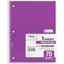 "Mead Spiral Bound Wide Ruled Notebooks - 70 Sheets - Spiral - Wide Ruled - 8"" x 10 1/2"" - White Paper - Assorted Cover - 1Each"
