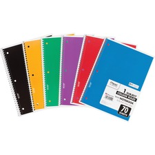 """MeadWestvaco 1-Subject Wirebound Ruled Notebook - 70 Sheet - College Ruled - 8\"""" x 10.5\"""" - 1 Each - White"""