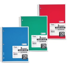"""Mead 3-Subject Wirebound College Ruled Notebook - 120 Sheet - College Ruled - Letter 8.5\"""" x 11\"""" - 1 Each - White"""