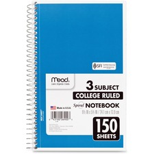 """Mead 3-Subject Wirebound College Ruled Notebook - 150 Sheet - College Ruled - 6\"""" x 9.5\"""" - 1 Each - White"""