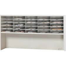 """Mayline Mailflow-T-Go Mailroom System - 25 Compartment(s) - 1 Tier(s) - Compartment Size 2.63"""" x 11.63"""" x 13.25"""" - 33.3"""" Height x 60"""" Width x 13.3"""" Depth - Desktop - Recycled - Pebble Gray - Steel - 1Each"""