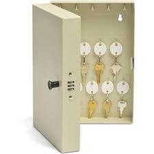 "MMF Hook Style 28 Key Cabinet - 7.75\"" x 3.25\"" x 11.5\"" - Steel - Security Lock - Putty"