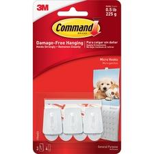 MMM 17066 3M Command Micro Hooks w/ Strips MMM17066