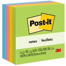 "Post-it Notes in Ultra Colors - Self-adhesive, Repositionable - 3"" x 3\"" - Ultra Assorted - Paper - 5 / Pack"