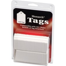 "Monarch Stringless White Tags - 1.13"" Length x 1.75"" Width - Rectangular - 1000 / Pack - Paper - White"