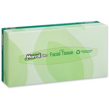 Marcal Pro 100% Recycled Facial Tissue - 2 Ply - White - Soft, Hypoallergenic - For Healthcare - 100 Sheets Per Box - 30 / Carton