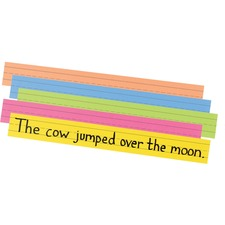 "Pacon Super Bright Sentence Strips - 3""H x 24""W - Dual-Sided - 1.5"" Rule/Single Line Rule - 100 Strips/Pack - 5 Assorted Super Bright Colors"