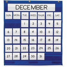 """Pacon Monthly Calendar Pocket Chart - 25"""" x 28"""" - 1 Chart - 7 Columns & 6 Rows of Pockets - English/Spanish Translated Cards"""