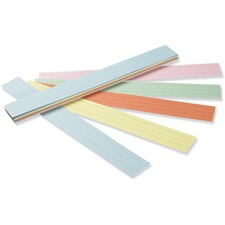 "Pacon Sentence Strips - 3""H x 24""W - Dual-Sided - 1.5"" Rule/Single Line Rule - 100 Strips/Pack - 5 Assorted Colors"