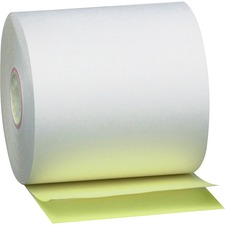 "PM Perfection Carbonless Paper - 3"" x 90 ft - 50 / Carton - White, Canary"
