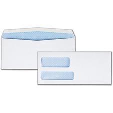 """Quality Park 24524 Double Window Envelope - #9 (3.88\"""" x 8.88\"""") - 24lb - Gummed - Wove - 500 / Box - White"""