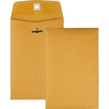 "Quality Park Gummed Kraft Clasp Envelopes - Clasp - #35 - 5"" Width x 7 1/2"" Length - 28 lb - Gummed - Kraft - 100 / Box - Kraft"
