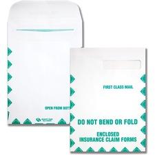"Quality Park Do Not Bend Insurance Claim Envelopes - Single Window - 9"" Width x 12 1/2"" Length - 28 lb - Self-sealing - Wove - 100 / Box - White"