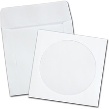 "Quality Park Paper CD/DVD Sleeves - CD/DVD - 5"" Width x 4 7/8"" Length - 24 lb - Wove - 100 / Box - White"