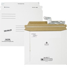 "Quality Park Economy Disk/CD Mailers - Disc/Diskette - 7 1/2"" Width x 6 1/8"" Length - Self-sealing - Paperboard - 100 / Carton - White"