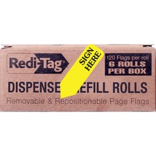 RTG 91001 Redi-Tag Sign Here Arrow Flags Dispenser Refills RTG91001