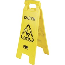"""Rubbermaid Commercial Multi-Lingual Caution Floor Sign - 1 Each - Caution Print/Message - 11"""" Width x 25"""" Height - Both Sides Display, Foldable - Yellow"""