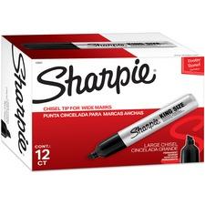Sanford King-Size Marker - Marker Point Style: Chisel - Ink Color: Black - Barrel Color: Silver - 12 / Dozen