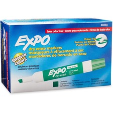 Expo Low-Odor Dry Erase Chisel Tip Markers - Bold Marker Point - Chisel Marker Point Style - Green