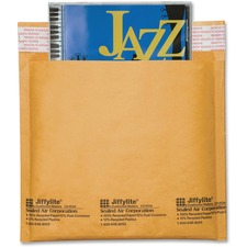 "Sealed Air Jiffylite CD/DVD Mailers - CD/DVD - 7 1/4"" Width x 8"" Length - Peel & Seal - Kraft - 25 / Carton - Satin Gold"