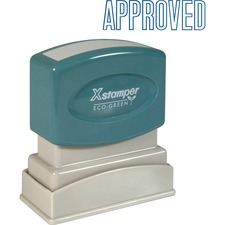 "Xstamper APPROVED Title Stamp - Message Stamp - ""APPROVED"" - 0.50"" Impression Width x 1.63"" Impression Length - 100000 Impression(s) - Blue - Recycled - 1 Each"