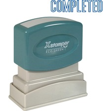 "Xstamper COMPLETED Title Stamp - Message Stamp - ""COMPLETED"" - 0.50"" Impression Width x 1.63"" Impression Length - 100000 Impression(s) - Blue - Recycled - 1 Each"