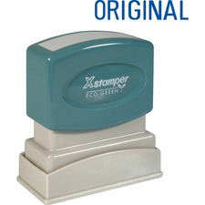"Xstamper ORIGINAL Title Stamp - Message Stamp - ""ORIGINAL"" - 0.50"" Impression Width x 1.63"" Impression Length - 100000 Impression(s) - Blue - Recycled - 1 Each"