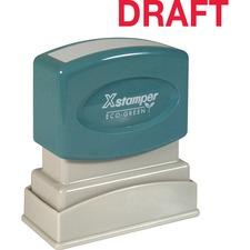 "Xstamper DRAFT Stamp - Message Stamp - ""DRAFT"" - 0.50"" Impression Width x 1.63"" Impression Length - 100000 Impression(s) - Red - Recycled - 1 Each"