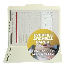 SJP S11581 SJ Paper 1/3 Cut Tab Archival File Fldrs w/ Fast. SJPS11581