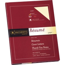 SOU R14ICF Southworth 100% Cotton Resume Paper SOUR14ICF