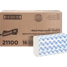 "Genuine Joe Multifold Towels - 1 Ply - 9.50"" x 9.10"" - White - Interfolded, Embossed, Anti-contamination, Chlorine-free - For Restroom, Public Facilities - 250 Sheets Per Bundle - 4000 / Carton"