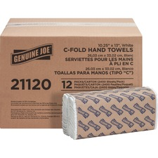 "Genuine Joe C-Fold Paper Towels - 1 Ply - 13"" x 10"" - White - Absorbent - For Washroom, Restroom, Public Facilities - 200 Sheets Per Pack - 2400 / Carton"