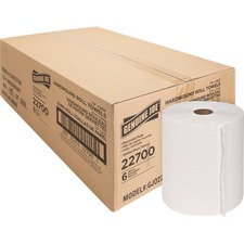 """Genuine Joe Hardwound Roll Paper Towels - 7.90"""" x 800 ft - White - Absorbent, Chlorine-free - For Restroom - 6 / Carton"""