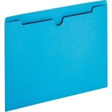 """Sparco Reinforced Tab Colored File Jackets - Letter - 8 1/2"""" x 11"""" Sheet Size - 50 Sheet Capacity - 11 pt. Folder Thickness - Blue - Recycled - 100 / Box"""