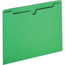 """Sparco Reinforced Tab Colored File Jackets - Letter - 8 1/2"""" x 11"""" Sheet Size - 50 Sheet Capacity - 11 pt. Folder Thickness - Green - Recycled - 100 / Box"""