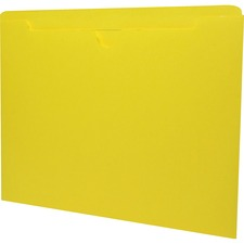 """Sparco Reinforced Tab Colored File Jackets - Letter - 8 1/2"""" x 11"""" Sheet Size - 50 Sheet Capacity - 11 pt. Folder Thickness - Yellow - Recycled - 100 / Box"""